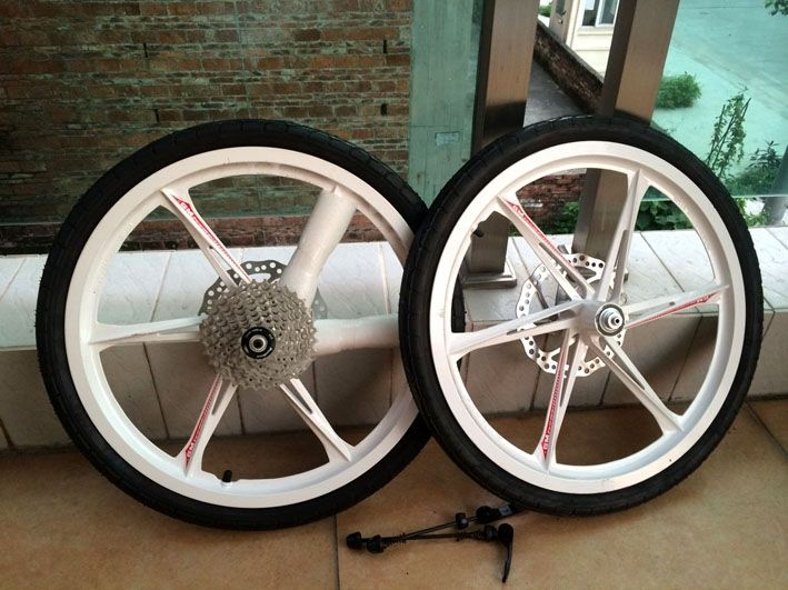 147.20$  Buy here - http://alig11.worldwells.pw/go.php?t=32716334112 - 20 inch 406 magnesium alloy one piece wheel front and rear disc brakes city road bike wheelset with frame and fork
