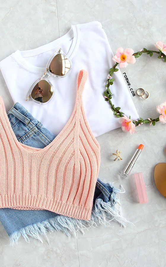 Pink Ribbed Knit Crop Cami Top