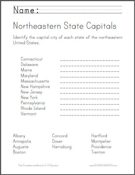 Northeastern State Capitals Worksheet Students Identify