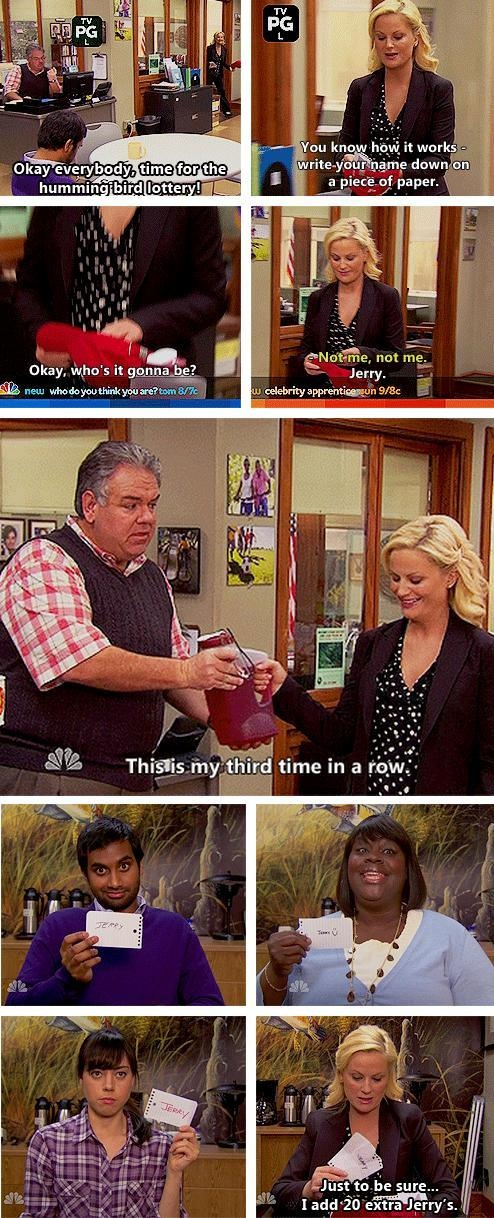 Parks and Recreation Season Two Episode 19: Park Safety-- Jerry always wins the hummingbird lottery.