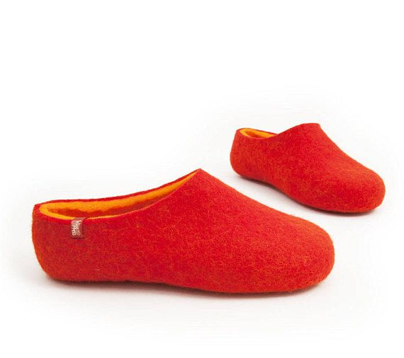 Red wool clogs for women felt clog slippers with orange soft