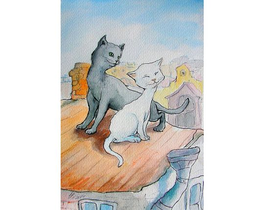 Cat's Love Print  Watercolour Illustration Baby by Mirabilitas