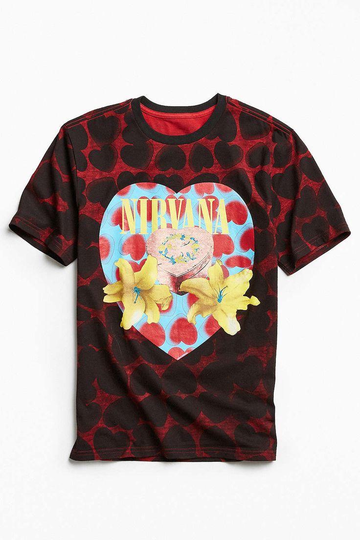 Shirt design pinterest - Nirvana Heart Shaped Box All Over Tee