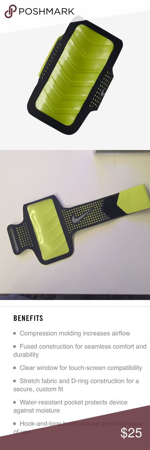 Nike✔️ IPhone 6 Armband Nike IPhone 6 Armband gray and neon lime. Has clear face for easy view, only used once! Plastic does have some marks that rub off from another item. Nike Accessories Phone Cases