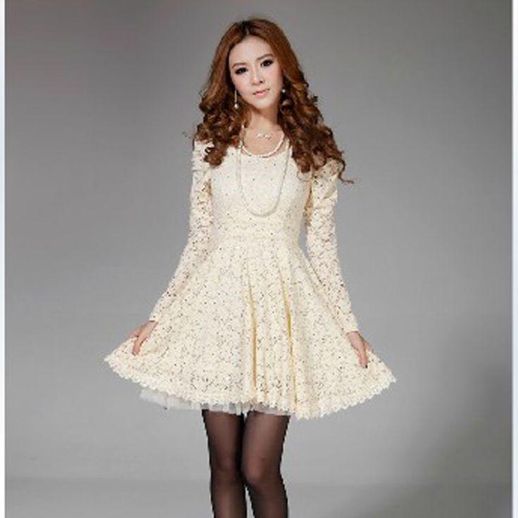 Gratis verzending lange pofmouw katoen vrouwen bowknot terug kruis kanten jurk- cad697 hoog niveau