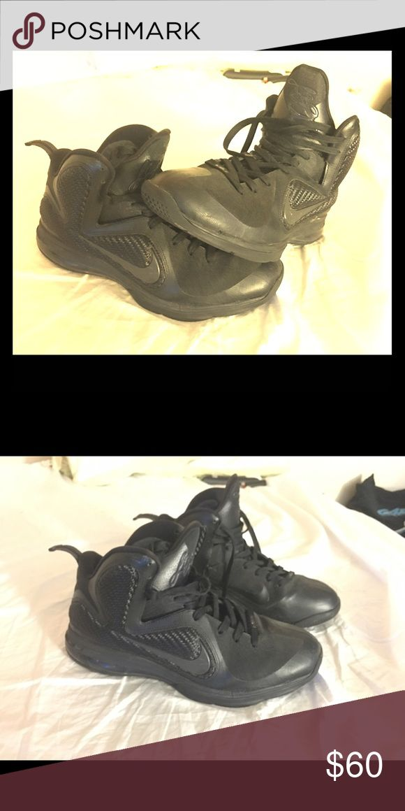 Nike LeBron James 9 Size 12 Lightly Used Black Nike LeBron James 9 Size 12 Lightly Used Black On Black. The 9's are the shoes he wore during his first championship season with the Miami Heat. Nike Shoes Sneakers
