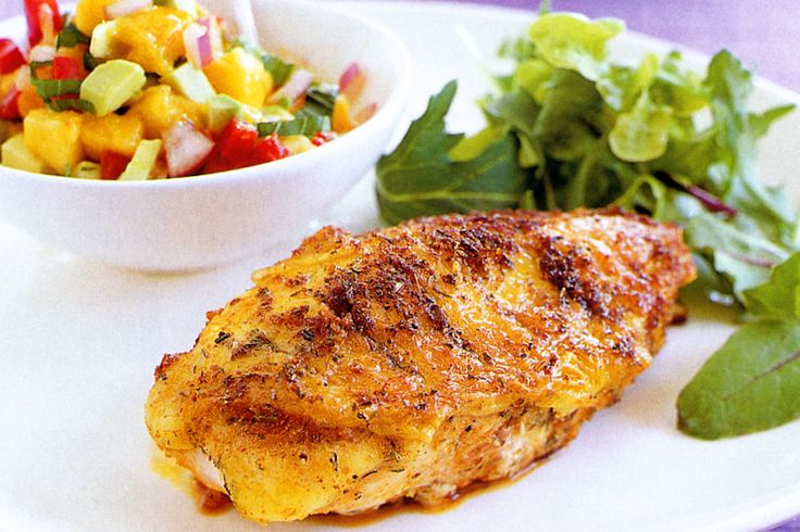 Team Cajun chicken breasts with vibrant mango salsa to create a complete mid-week meal. YUMMY spice mix!