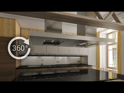360° - 3D render   Интерьер   Кухня-столовая - YouTube