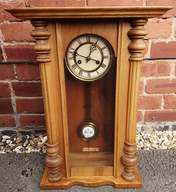 Antique Vienna Style Wall Clock German Pendulum Clock Pine Cased