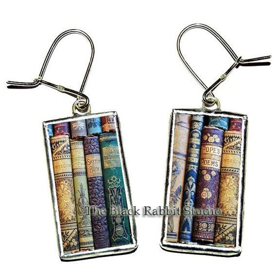 Shabby Books Earrings, book earrings, library earrings, teacher's gift, Hypoallergenic Earrings
