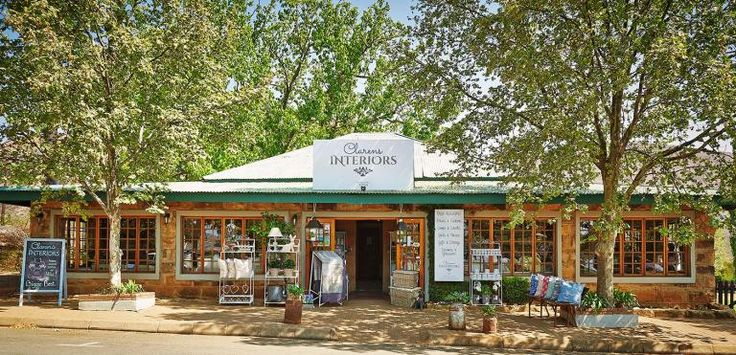 Situated on the square  in the historic town of Clarens, Free State, Clarens Interiors, run by Anel.