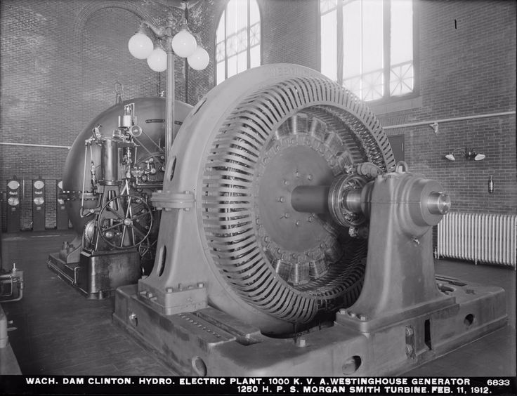 The 1000 K. V. A. Westinghouse Generator and 1250 H. P. S. Morgan Smith Turbine of Wachusett Dam Hydroelectric Power Plant. Feb. 11 1912. [1740 x 1334]