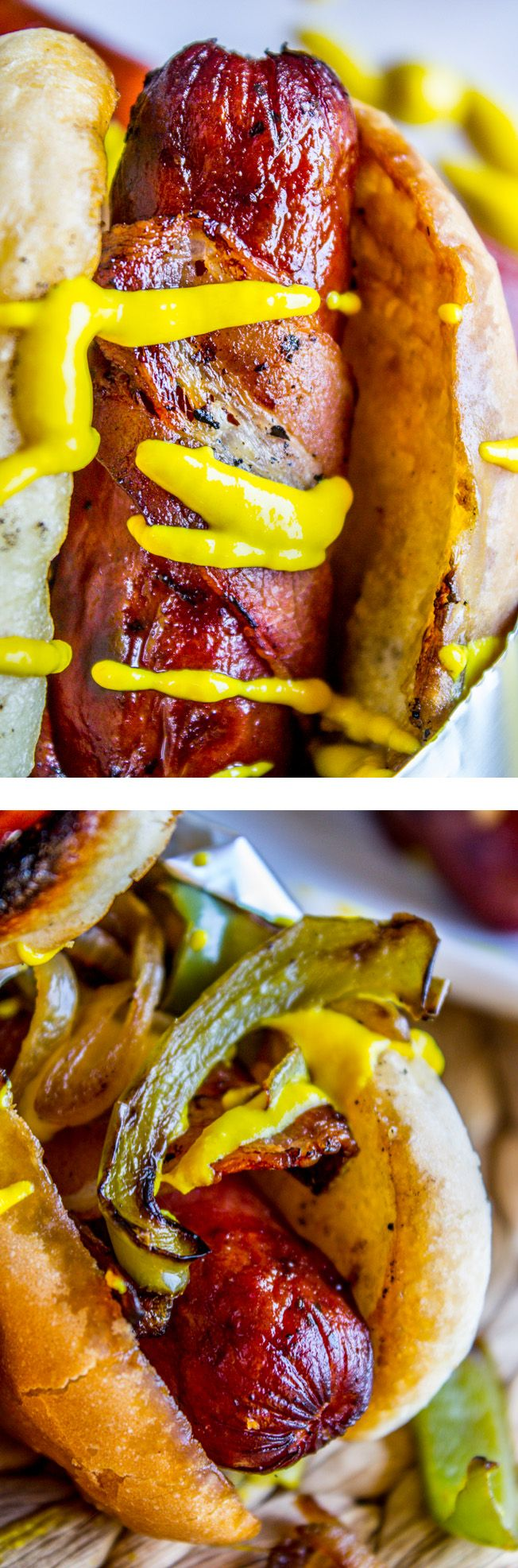 Hot dogs are good. Hot dogs wrapped in bacon? BETTER. Add some sautéed onions and peppers, a crispy grilled bun, and you are well on your way to summer perfection. These would be perfect for tailgating, summer cookouts, or Labor Day BBQs!