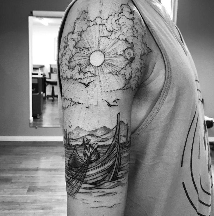 Tatuagem feita por Ricardo da Maia de Curitiba.  Pescador no barco em dia ensolarado. Arte em preto e cinza.  #tattoo #tatuagem #tatuaje #art #arte #tattoo2me #blackwork #sketch