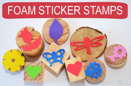 Foam sticker stamps - easy and fun art activity.