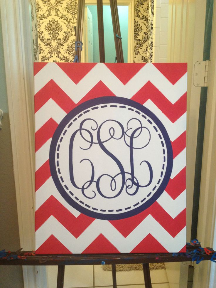 Hand-painted monogram canvas