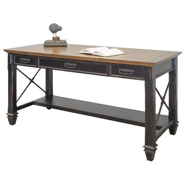 The Hartford collection combines bold lines with a weathered, vintage finish and classic style elements. The warm, hand applied two toned rubbed chestnut finish gives Hartford the relaxed feel of old world wood, while wire mesh details add a formal element. The Hartford collection will be right at home in either a classic formal setting or a relaxed, eclectic home. The writing desk includes a center drawer with a drop down front to hold a keyboard and wire management to control cables. It is…