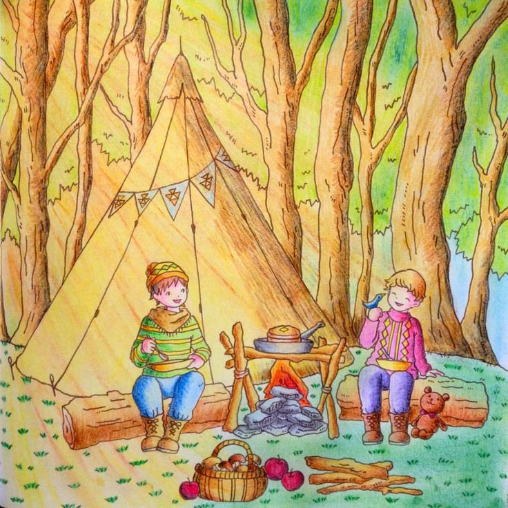 """""""Camping in the Forest"""" (Pg.51) from Romantic Country: Cocot- The Land of Beautiful Towering Castles (A Fantasy Coloring Book) by Japanese Toothpick Artist & Illustrator, Eriy. Colorist: ?  ....love the sun rays coming through the trees as if the sun is coming up. Prob. won't use it in this particular scene in my book b/c I want this to be a late evening/dusk scene with the boys camping but I guess it could be the sun going down too in the afternoon. I'll def. use this awesome idea on…"""