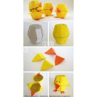 Bricolage de Pâques : les petits poussins en carton