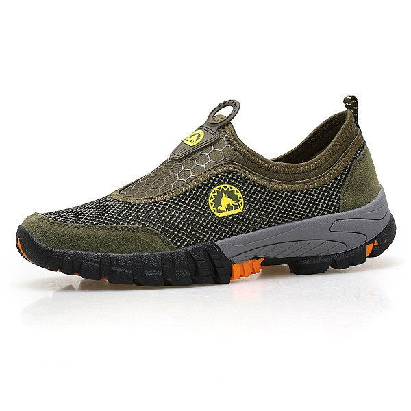 Sapatos Casuais de Sneakers Com Tamanho Grande e Respirável Sapatos Com Redes Slip On Ao Ar Livre Para Homens