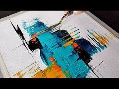 Abstract painting / Mini / Simple abstract painting simply with a spatula / Demonstration – YouTube