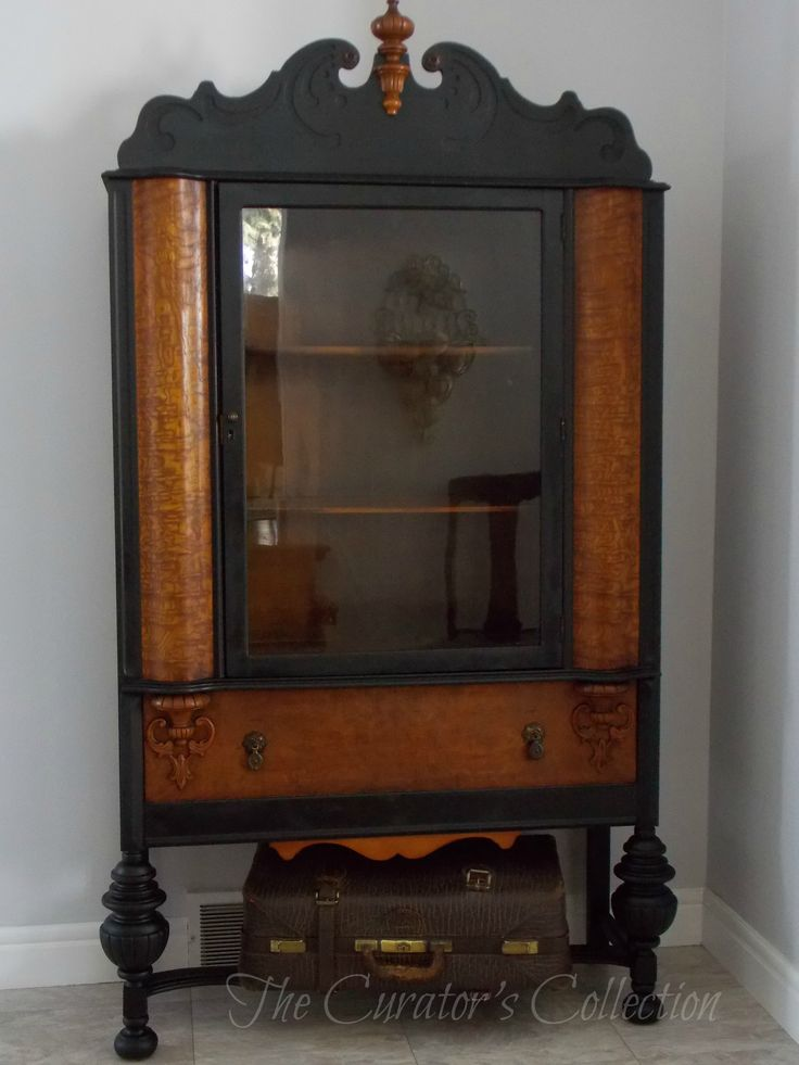 1920's China hutch makeover in typewriter milk paint 027