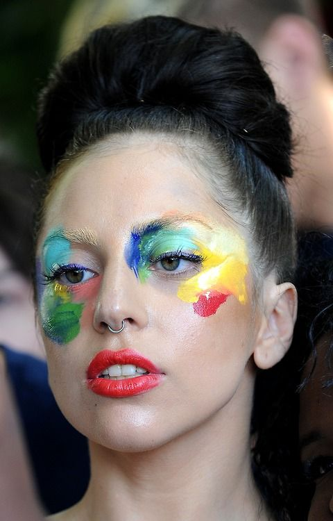 Lady gaga, paint pallet makeup                                                                                                                                                                                 More