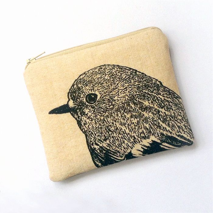 Screen printed robin purse, in cream by Stalley Textile Co.