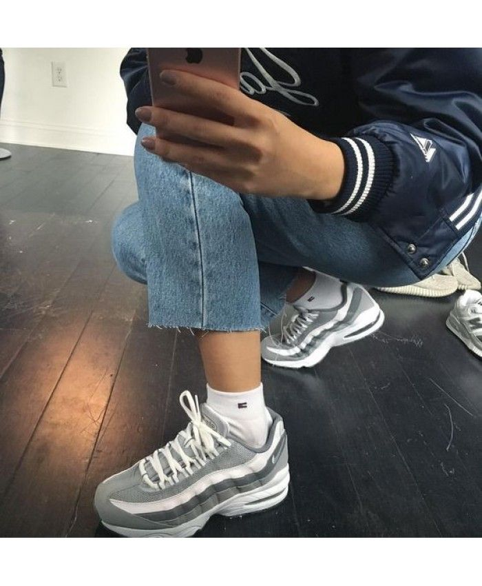 10cc5a79dd Nike Air Max 95 Grey White Trainers | Clothes in 2019 | Sneakers ...