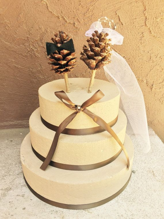Pine Cone Wedding Cake Topper Rustic Forest Country by MomoRadRose