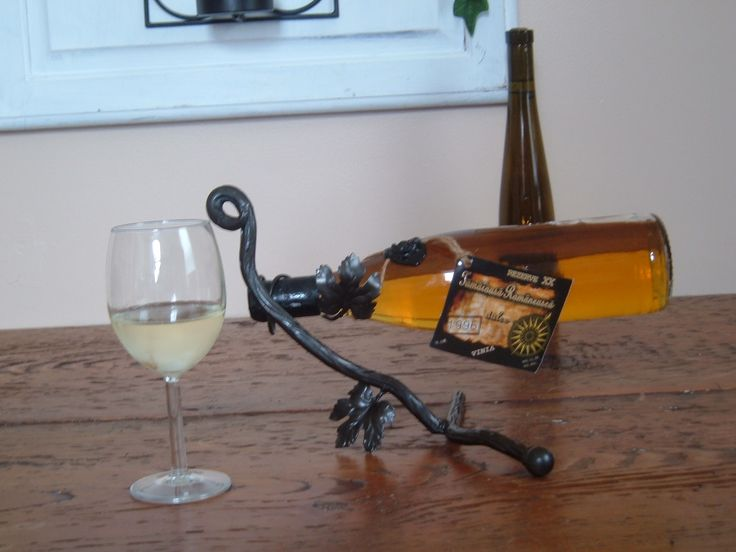 Wrought iron wine bottle holder