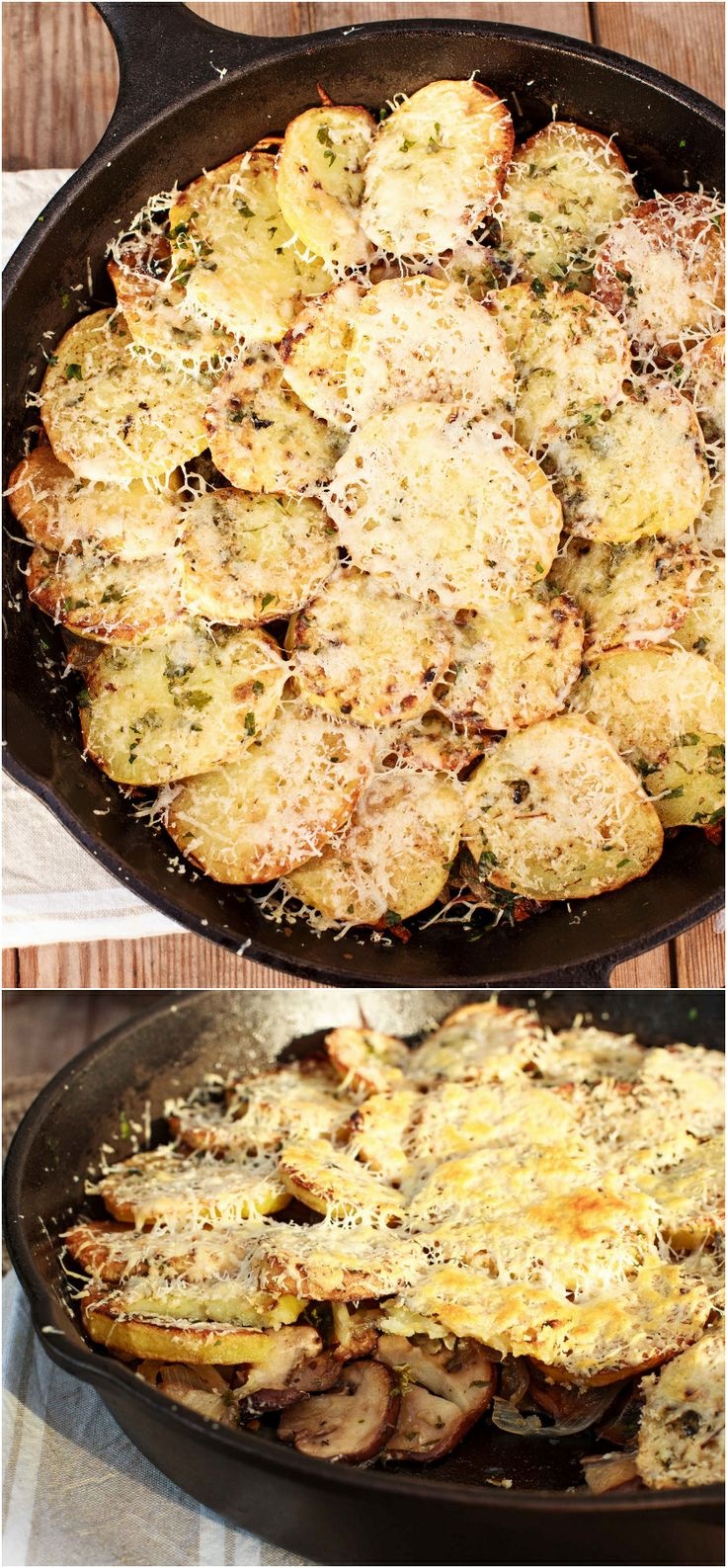 Baked Potatoes layered with caramelized onions, mushrooms and sour ...