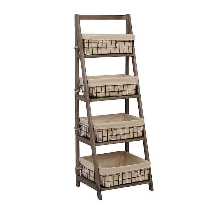 Kitchen Storage Ladder: Product Details Gray Storage Basket Wooden Ladder Shelf In