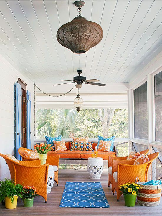 16 Creative Updates for Porches - Porches are much more than spots to enjoy the outdoors. Well-decorated, well-planned porches can boost curb appeal, exhibit a homeowner's style, and extend practical living space. Here are 16 ideas to inspire your own porch designs. - By Kelly Roberson Add Bold Color