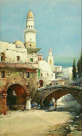 Algérie - Peintre Britannique,Noel Harry Leaver (1889 - 1951), Aquarelle,Titre: Une rue à Alger.
