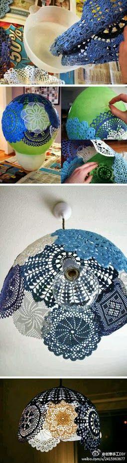 carpetas de crochet recicladas en lámpara