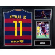 #All Star Signings Neymar Signed and Framed 2016 Barcelona Shirt #Here is a real collectors item. A signed Barcelona shirt from Brazilian ace Neymar which comes with Allstarsignings certificate of authenticity with photographic proof inserted into it as well as being superbly framed and ready to hang. Approx size 71x911cm.