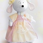 Soft Mouse  Height - 35 cm  Materials: fleece, cotton knit, velvet, lace, flanele  Stands, sits  Price: 	$115.00