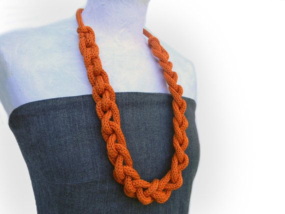 Long chain necklace knitted and knotted, fiber necklace, knitted jewelry. Tangerine or choose yor color via Etsy