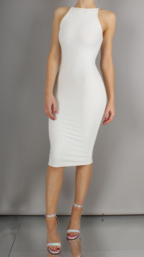 All white bodycon dress on h&m.