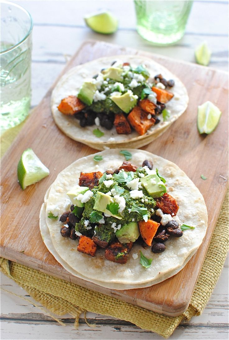 Sweet Potato And Black Bean Tacos With Swiss Chard Pesto ...