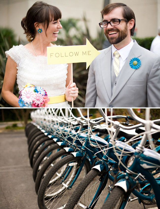 THIS IS AN AWESOME IDEA FOR A WEDDING RECEPTION PARTY!!!!! fun bike wedding