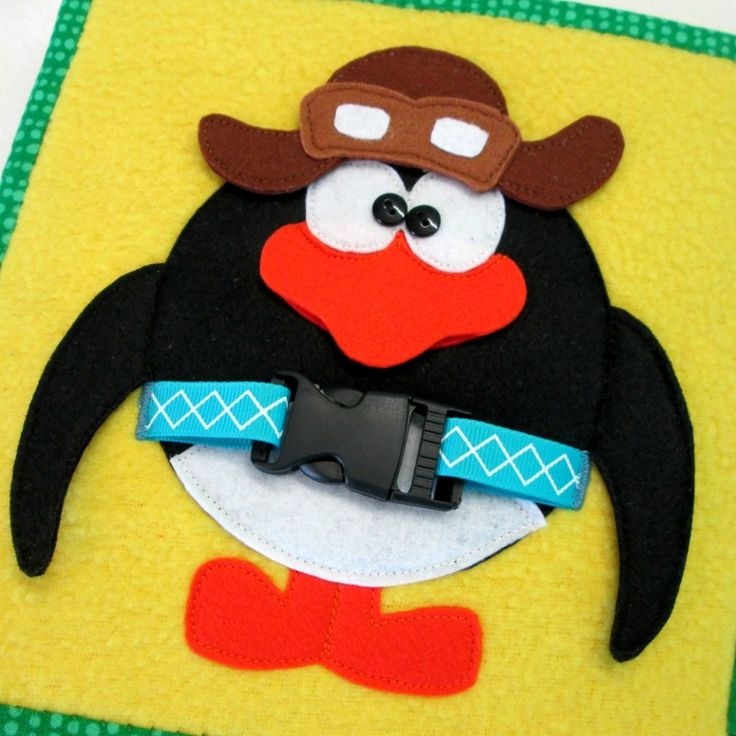 pilot penguin snaps and buckles quiet book page