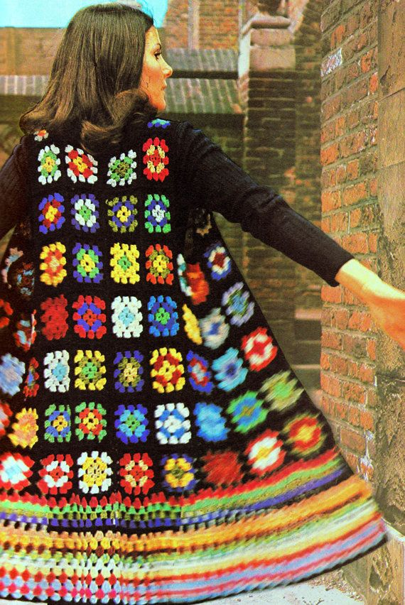 INSTANT DOWNLOAD PDF Vintage Crochet Pattern Granny Squares Long Waistcoat Tunic    Vintage Retro
