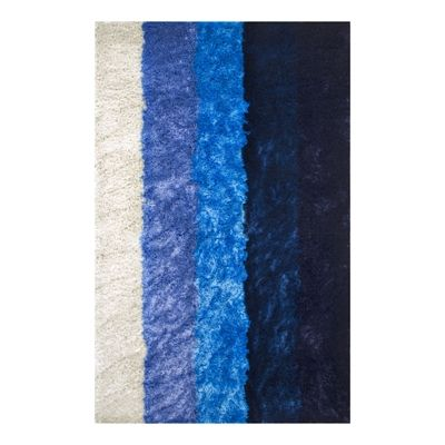 nuLOOM MRTP09A Thomas Paul Hand-Tufted Stripes Shag Blue Area Rug