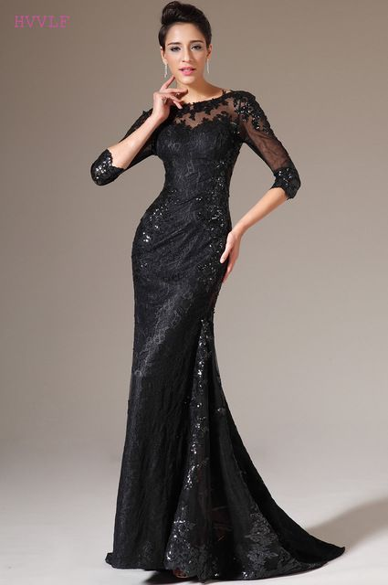 546d89ce8ea7 Black Evening Dresses 2019 Mermaid 3/4 Sleeves Sequins Lace See Through  Women Long Evening Gown Prom Dresses Robe De Soiree Review