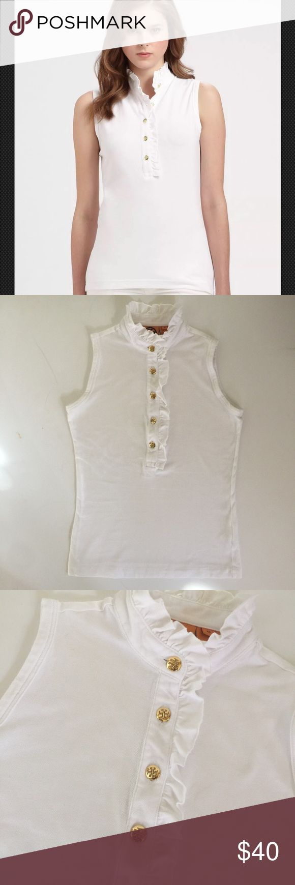 """TORY BURCH White Lidia Sleeveless Polo XS EUC TORY BURCH Women's White Sleeveless Polo Style Number 440620 Size : XS Fabric: 49% Pima Cotton, 49% Modal, 2% Spandex Made in Peru EUC Length 23"""", Width 18"""" (underarm to underarm) A brief stand collar and a logo-button placket traced with pert ruffles grant ladylike updates to a sleeveless, stretchy polo shirt.   This shirt is in excellent used condition with no stains, rips, holes, snags or tears. It will come to you washed and ready for…"""