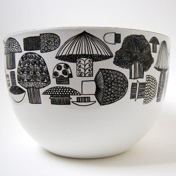 Kaj Franck Finel - Arabia Mushroom Enamel Bowl Vintage Finland