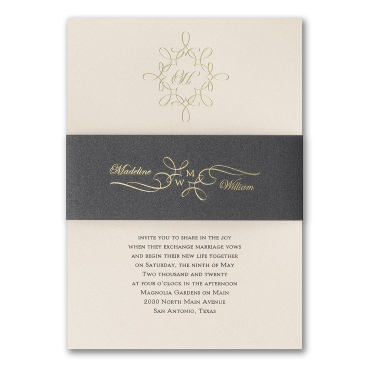 how to put guest names on wedding invitations%0A This invitation is simply magic with a black shimmer wrap personalized with  your names as a couple  This invitation is to simmer in the eyes of your  guests
