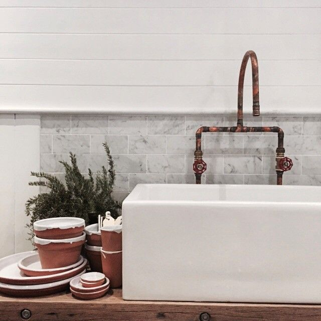 Porcelain kitchen sink and copper plumbing | Little Rae General Store